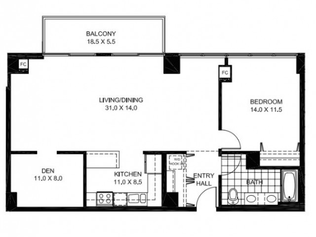 One Bedroom One Bathroom with DenFloor Plan A9