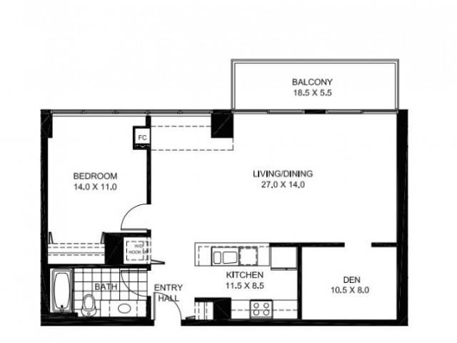 One Bedroom One Bathroom with Den Floor Plan A11