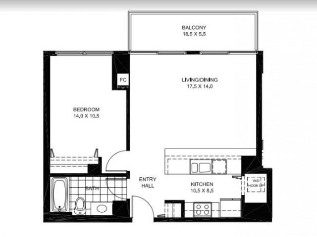 One Bedroom One Bathroom Floor Plan A13