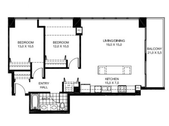 Two Bedroom One Bathroom Floor Plan B15