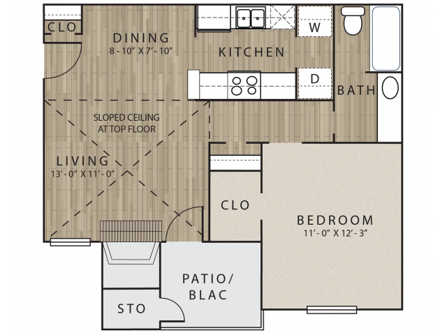 A2 one bedroom, one bath with dining room and patio/balcony