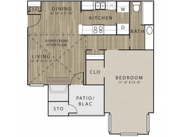 A3 one bedroom, one bath with dining room and attached patio/balcony