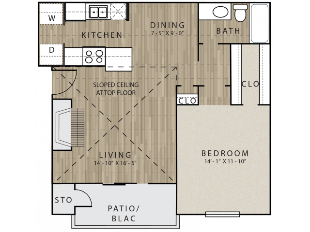 A4 one bed, one bath with dining room, fire place and attached patio/balcony
