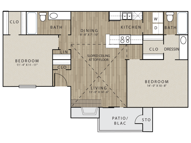 B1 two bed, two bath with dining room and attached patio/balcony