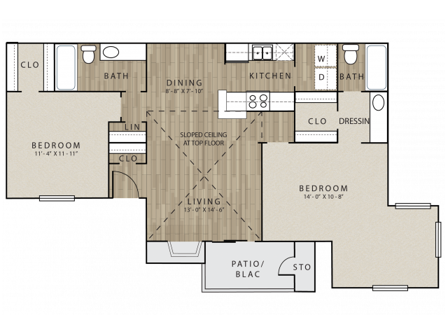 B2 two bed, two bath with dining room and attached patio/balcony