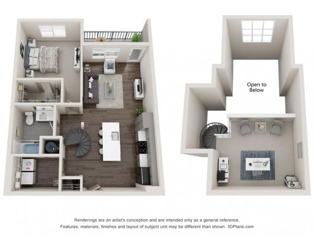 Siren - One Bedroom Loft | One Bathroom 964 sq feet