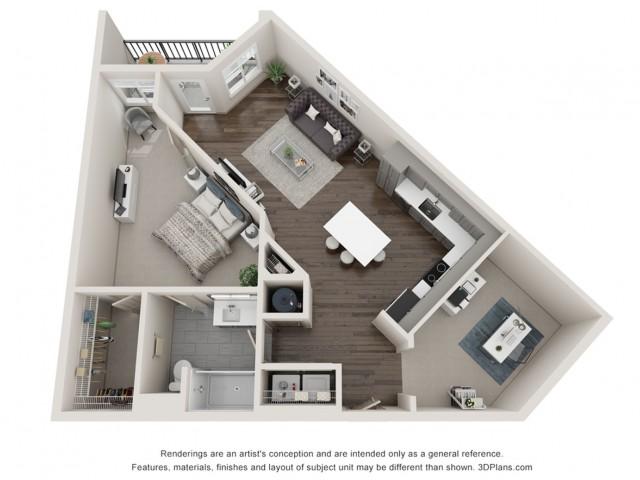 Isla - One Bedroom with Den | One Bathroom 827 sq feet