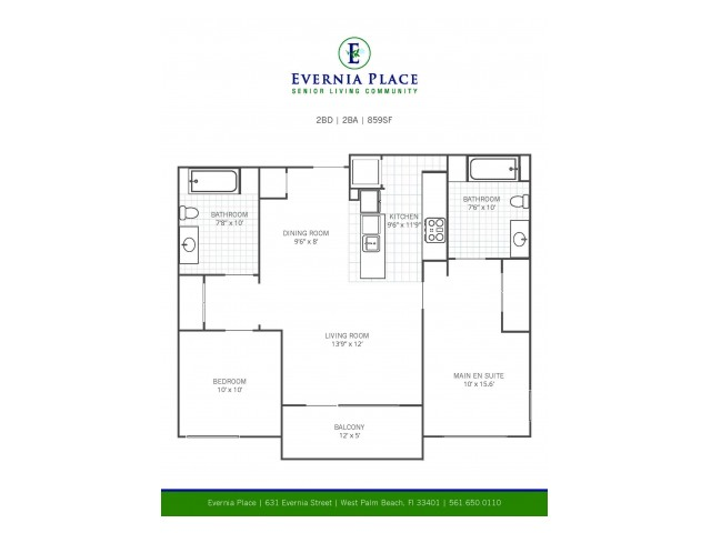 Two Bedroom Two Bath l B1 l Evernia Place
