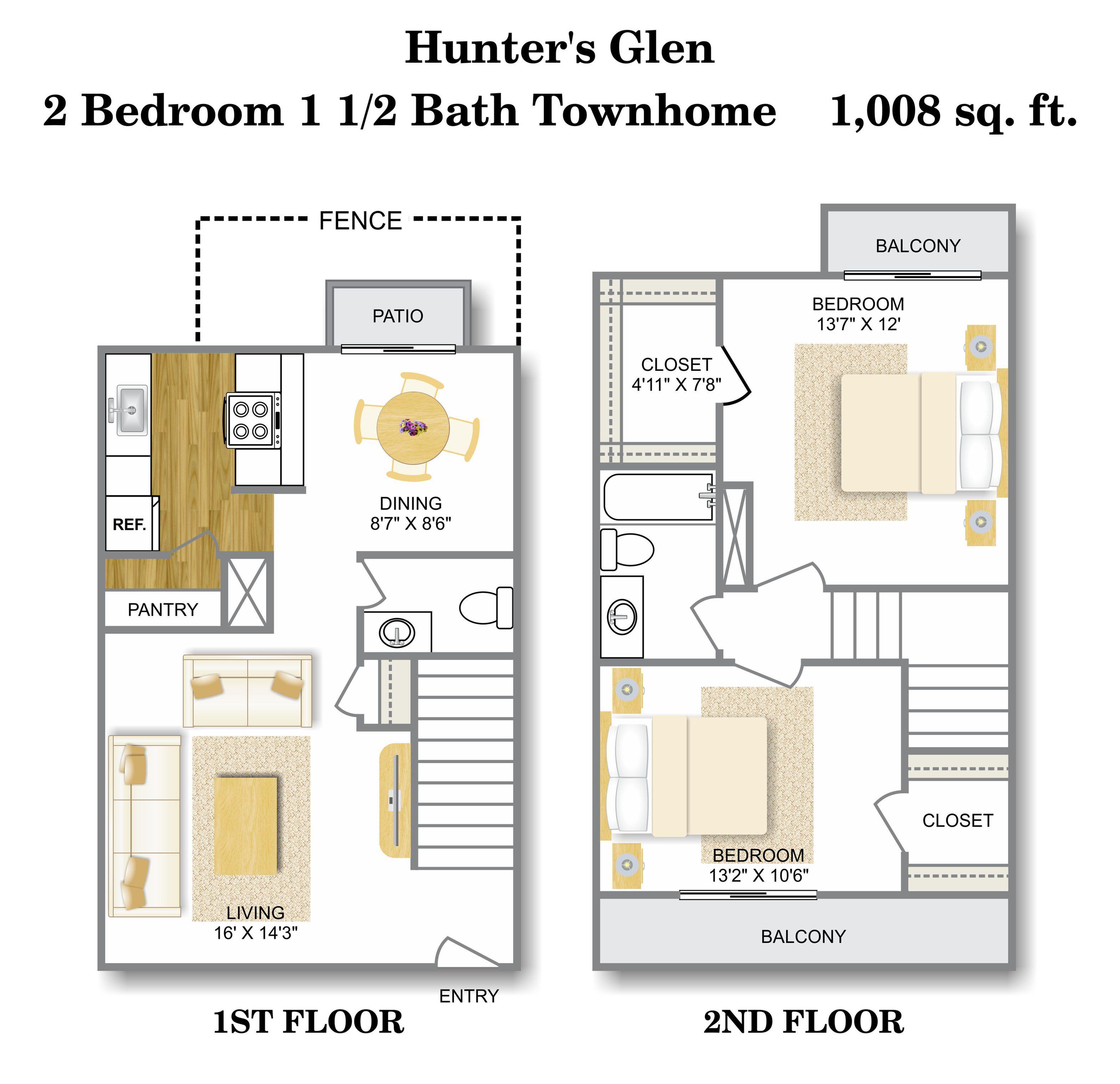 Floor Plan 4 | Apartments For Rent San Antonio TX | Hunter\'s Glen Apartments