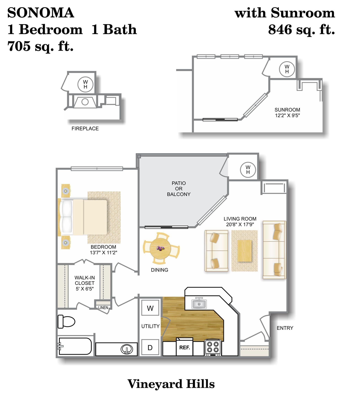 1 Bedroom Apartments Vineyard Hills Apartments
