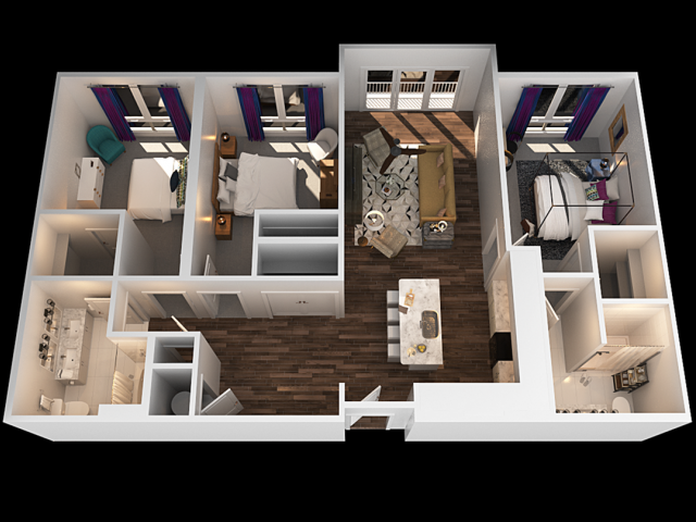 A 3 Bedroom Floor Plan | Luxury 2 Bedroom Apartments Towson MD | The Southerly