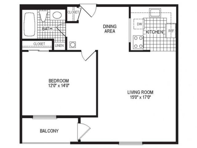 A1B - 1 Bedroom Floor Plan | Apartments in Springfield MA | Stockbridge Court