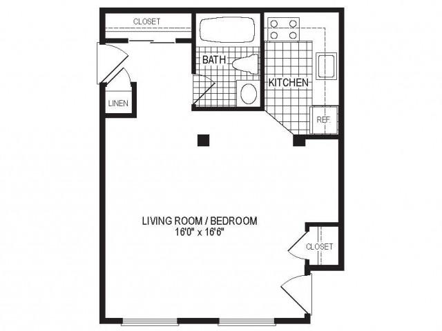 S1B - 1 Bedroom Floor Plan | Apartments in Springfield MA | Stockbridge Court