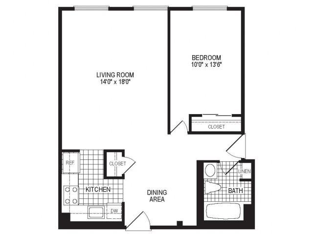 A1AK - 1 Bedroom Floor Plan | Apartments in Springfield MA | Stockbridge Court