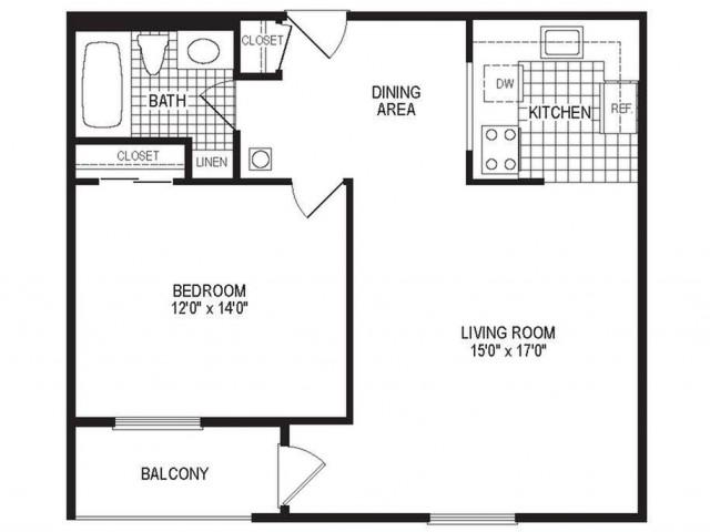 A1BK - 1 Bedroom Floor Plan | Apartments in Springfield MA | Stockbridge Court