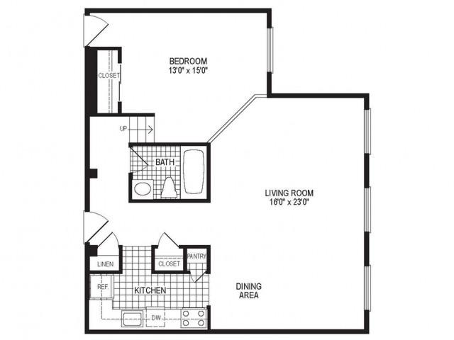 A1CK - 1 Bedroom Floor Plan | Apartments in Springfield MA | Stockbridge Court