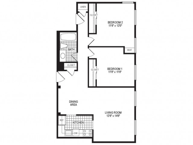 B1A - 2 Bedroom Floor Plan | Springfield MA Luxury Apartmetns | Stockbridge Court