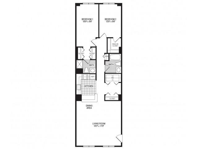 B2S - 2 Bedroom Floor Plan | Springfield MA Luxury Apartmetns | Stockbridge Court