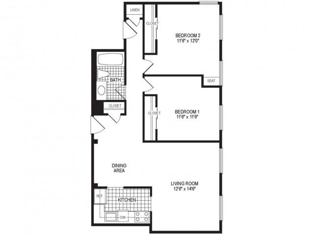 B1AK - 2 Bedroom Floor Plan | Springfield MA Luxury Apartmetns | Stockbridge Court