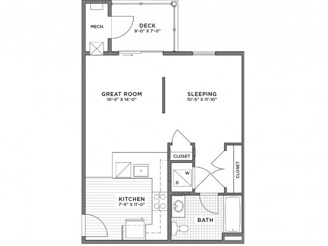 Studio Floor Plan | Weymouth MA Apartments For Rent | The Gradient