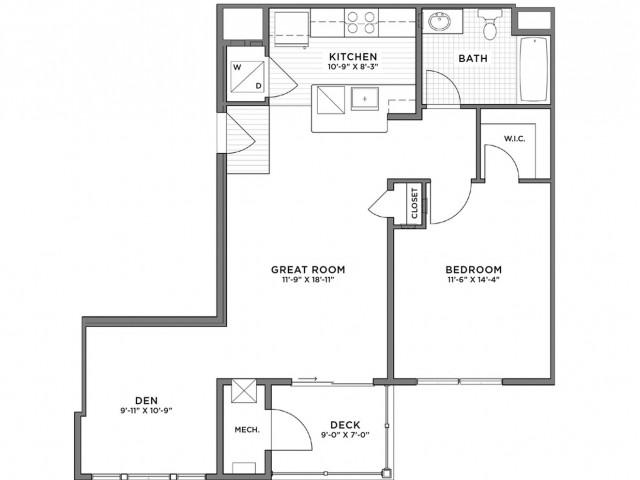 1 Bedroom Floor Plan   Luxury Apartments Weymouth MA   The Gradient1 Bedroom Floor Plan   Luxury Apartments Weymouth MA   The Gradient