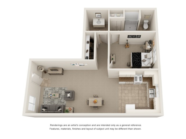 One bedroom one and a half bath floor plan image showing open living room and dining room, open concept kitchen, one and a half bathrooms, a spacious bedroom, and ample storage space