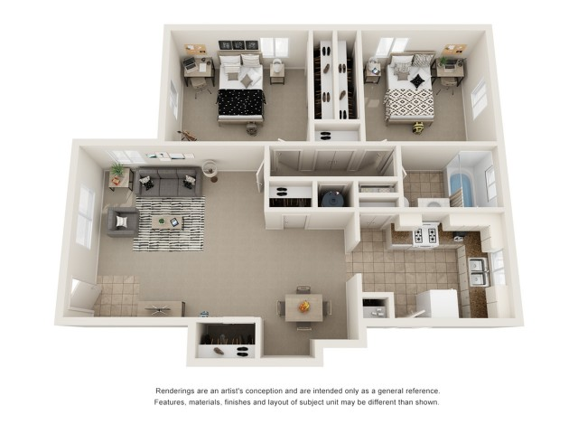 Two bedroom one bath floor plan image showing open living room and dining room, galley kitchen, one bathroom, and two spacious bedrooms