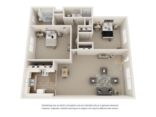 Two bedroom two bath floor plan image showing open living room and dining room, open concept kitchen, two bathrooms, and two spacious bedrooms