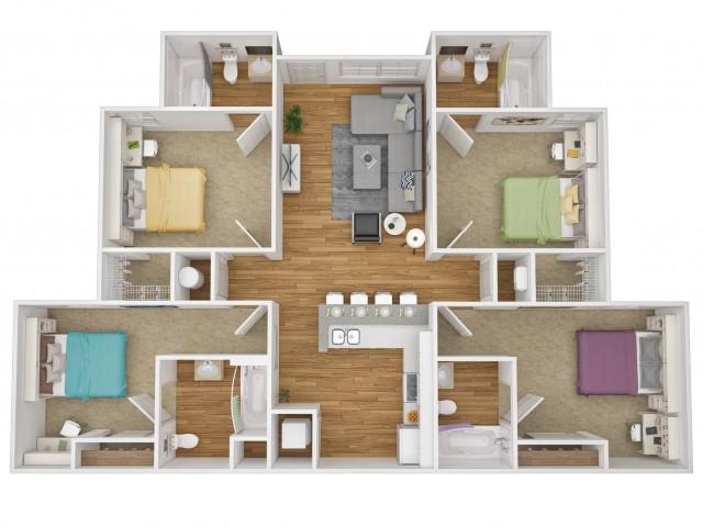 3D floor plan of 4x4 flat