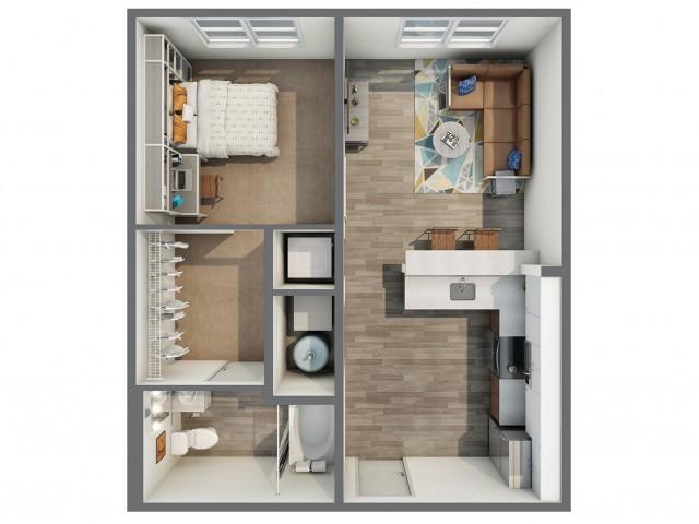 3D Floor Plan of 1x1