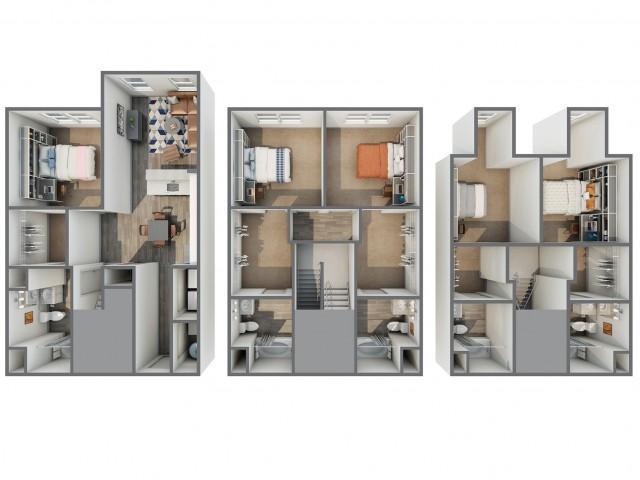 3D Floor Plan of 5x5