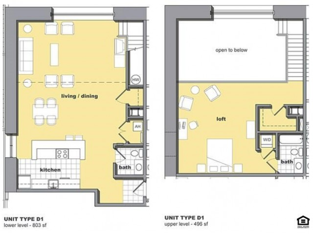 1 bedroom 1.5 bathroom floorplan. Living space and kitchen with lofted bedroom upstairs