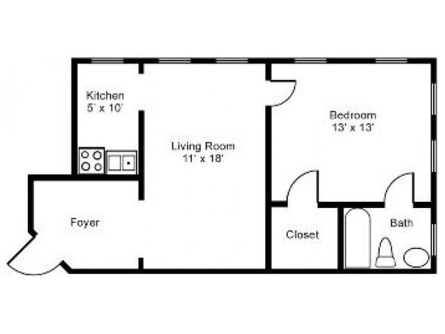 1 Bed/1 Bath Floorplan