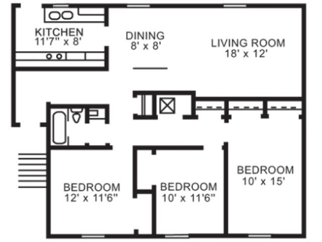 3 bedroom 1 bathroom flat