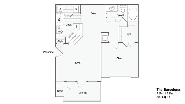Floor Plan 2 | Two Bedroom Apartments In Atlanta GA | The Artisan Luxury Apartment Homes