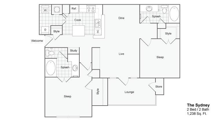 Floor Plan 5 | Luxury Apartments In Atlanta Georgia | The Artisan Luxury Apartment Homes