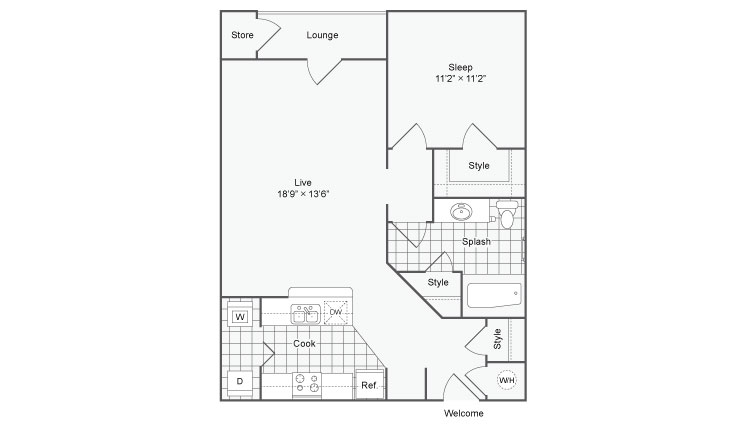 1 Bedroom Floor Plan | Apartments In Chamblee | The Station on Peachtree