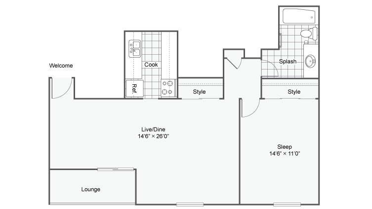 1 Bedroom Floor Plan   Apartments In Chesterfield Mo   Magnolia Apartment Homes
