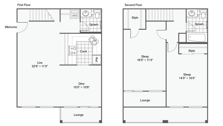 2 Bedroom Floor Plan   Apartments Chesterfield Mo   Magnolia Apartment Homes