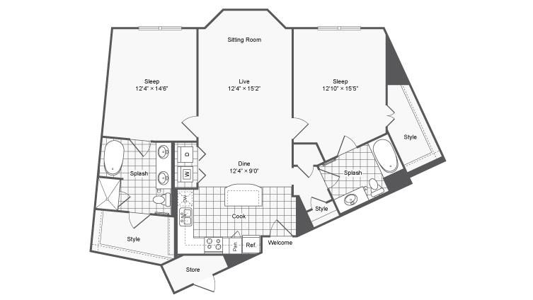 Floor Plan 23 | Brookhaven Apartments Atlanta GA | The Mille Brookhaven Apartment Homes