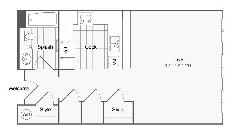 Floor Plan 2 | Studio Apartments In San Antonio | Arrive Eilan