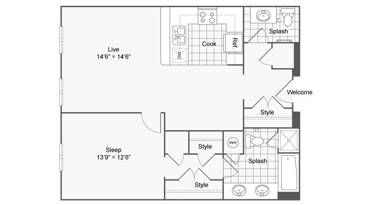 Floor Plan 34| Alamo Apartments San Antonio TX | Arrive Eilan