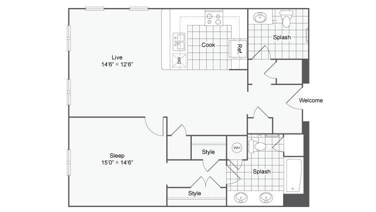 Floor Plan 41| Alamo Apartments San Antonio TX | Arrive Eilan