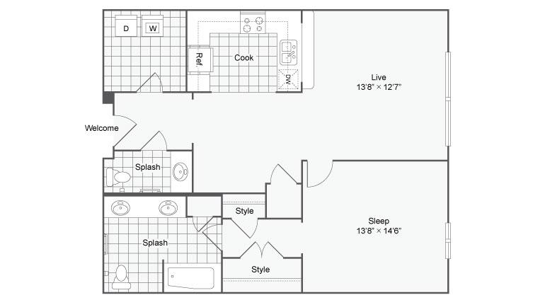 Floor Plan 40| Alamo Apartments San Antonio TX | Arrive Eilan