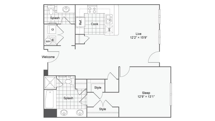 Floor Plan 39| Alamo Apartments San Antonio TX | Arrive Eilan
