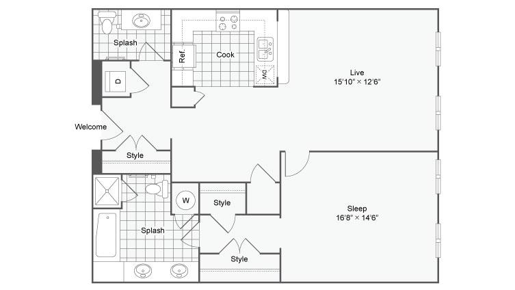Floor Plan 38| Alamo Apartments San Antonio TX | Arrive Eilan