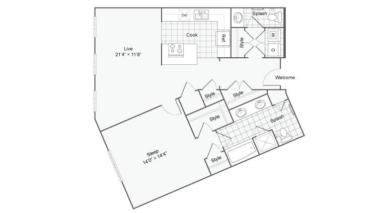 Floor Plan 44| Alamo Apartments San Antonio TX | Arrive Eilan