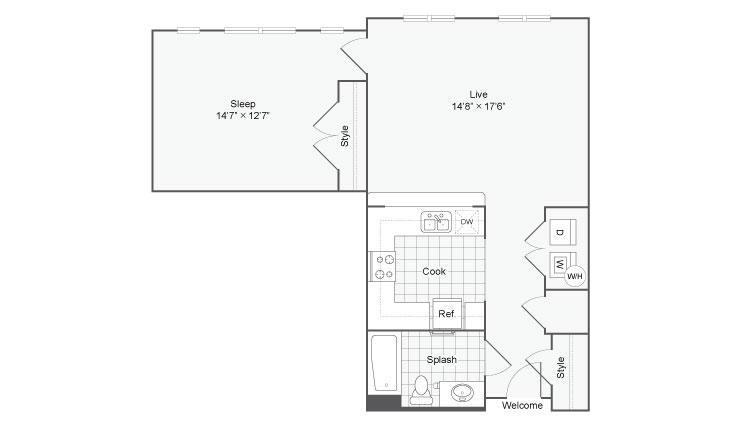 Floor Plan 52| Alamo Apartments San Antonio TX | Arrive Eilan