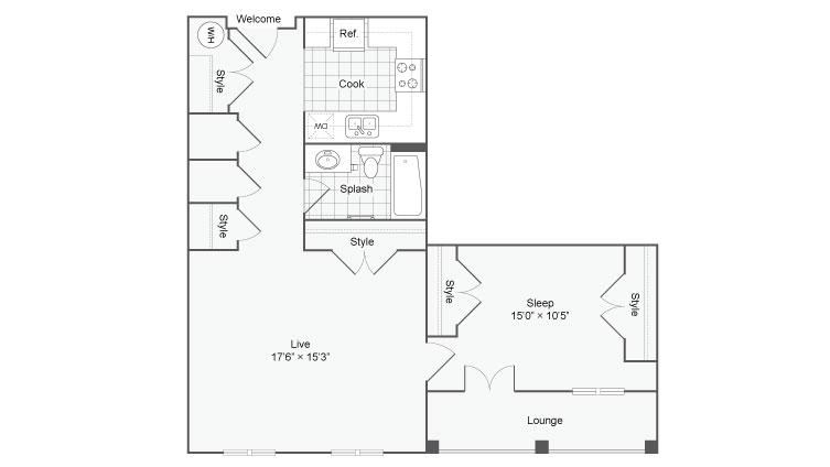 Floor Plan 53| Alamo Apartments San Antonio TX | Arrive Eilan