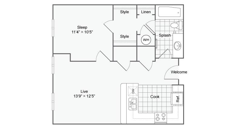Floor Plan 64| Alamo Apartments San Antonio TX | Arrive Eilan